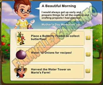A Beautiful Morning - Place a Butterfly Feeder - Water 10 Onions - Harvest the Water Tower