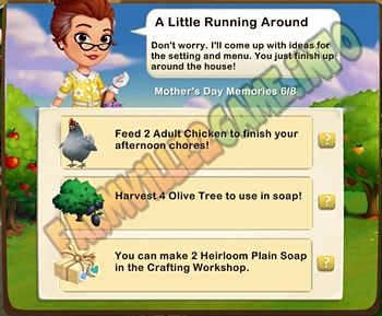 A Little Running Around - Feed 2 Adult Chicken - Harvest 4 Olive Tree -  Make 2 Heirloom Plain Soap