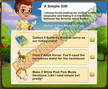 A Simple Gift - Collect 5 Butterfly Book - Feed 2 Adult Horse - Make 2 White Pom Pom Mums Necklace