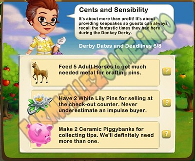 Cents and Sensibility - Feed 5 Adult Horses - Have 2 White Lily Pins - Make 2 Ceramic Piggybanks