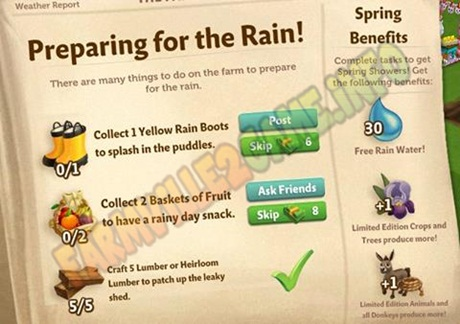 Farmville 2 Preparing for the Rain