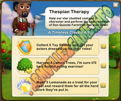 Thespian Therapy - Collect 5 Toy Shields  - Harvest 4 Lemon Trees - Make 3 Lemonade