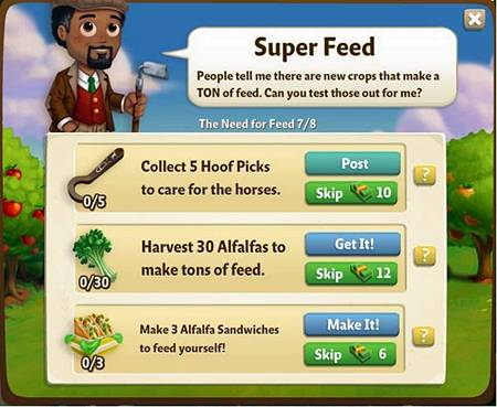 Super Feed - Collect 5 Hoof Picks - Harvest 30 Alfalfas - Make 3 Alfalfa Sandwinches