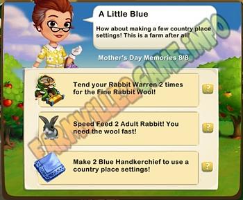 A Little Blue - Tend your Rabbit Warren 2 times  - Feed 2 Adult Rabbit - Make 2 Blue Handkerchief