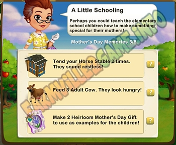 A Little Schooling - Tend your Horse Stable 2 times - Feed 3 Adult Cow - Make 2 Heirloom Mother's Day Gift