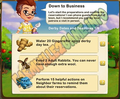 Down to Business - Water 20 Gingers - Feed 3 Adult Rabbits - Perform 15 helpful actions