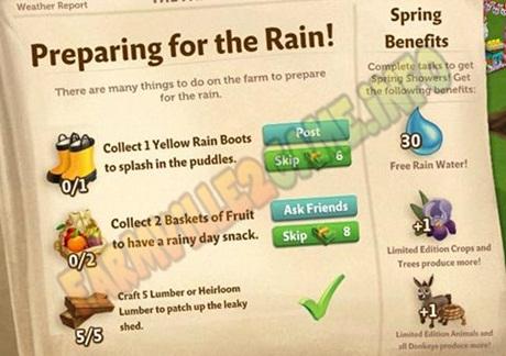 Farmville 2 Preparing for the Rain