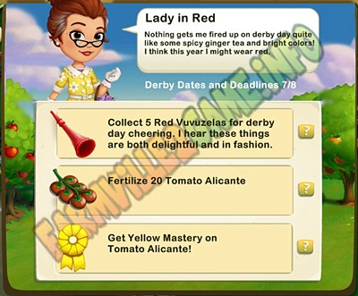 Lady in Red - Collect 5 Red Vuvuzelas - Fertilize 20 Tomato Alicante. - Get Yellow Mastery on Tomato Alicante!