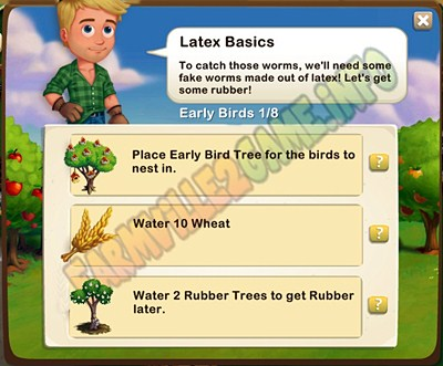 Latex Basics - Place Early Bird Tree - Water 10 Wheat - Water 2 Rubber Trees