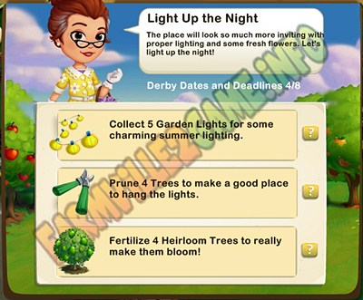 Light Up the Night - Collect 5 Garden Lights - Prune 4 Trees - Fertilize 4 Heirloom Trees