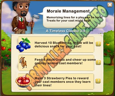 Morale Management - Harvest 10 Blueberries -  Feed 3 Adult Goats - Make  3 Strawberry Pies