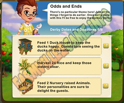 Odds and Ends - Feed 1 Duck House -  Harvest 24 Rice - Feed 2 Nursery raised Animals