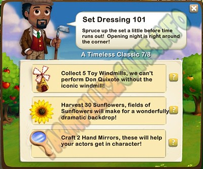 Set Dressing 101 - Collect 5 Toy Windmills  - Harvest 30 Sunflowers - Craft 2 Hand Mirrors