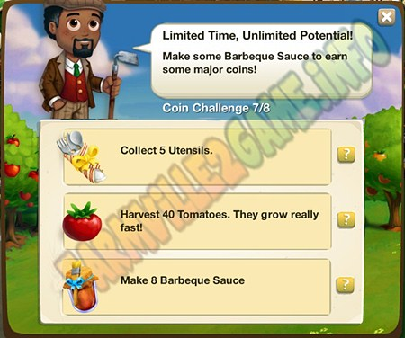 Limited Time Unlimited Potential! -  Collect 5 Utensils - Harvest 40 Tomatoes - Make 8 Barbeque Sauce